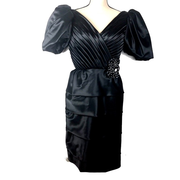 Unbranded Dresses | Vintage Prom Dress Womens 6 Satin Puffy Sleeves ...